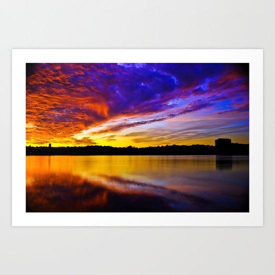 Burning Sky, Boston MA Art Print