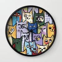 a lot of cats Wall Clocks featuring Cats a Lot by grrrenadine