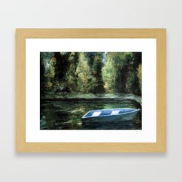 Rowboat and Reflections on the Water Framed Art Print