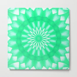 Mozaik Mandala Flower (green) Metal Print