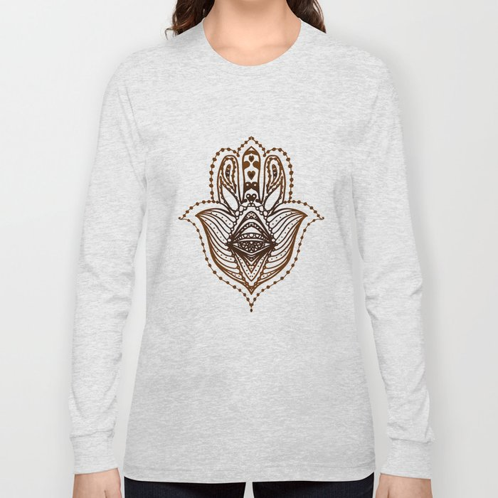 Hamsa Hand Symbol Of Protection Long Sleeve T Shirt By Ekaterinac