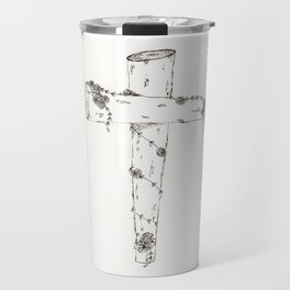 Wooden Cross with Flowers. Black and White Cross. Travel Mug