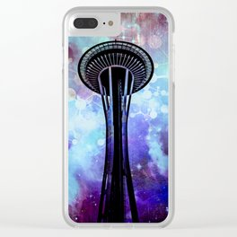 Space Needle - Seattle Stars Clouds Fog Clear iPhone Case