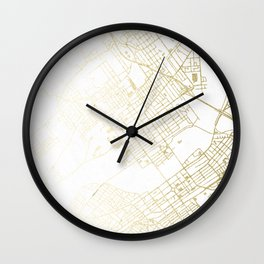 Wilkes-Barre Gold and White Map Wall Clock