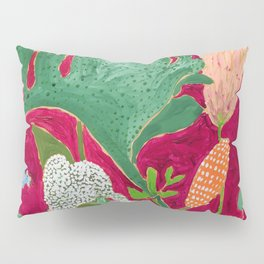 Magenta Jungle Painting, Monstera, Birds of Paradise Floral on Pink Jewel Tone Pillow Sham