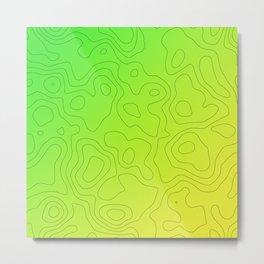 Green Yellow Topo Pattern Metal Print