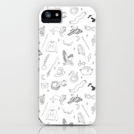 Magic School - sword, broom, houses, lion, badger, cauldron, witch, wizard, black and white, iPhone Case