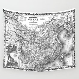 Vintage Map of China (1862) BW Wall Tapestry