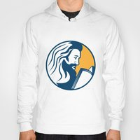 bible Hoodies featuring Saint Jerome Reading Bible Retro by patrimonio