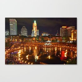 Summer Waterfire at Waterplace Park - Providence, Rhode Island Canvas Print