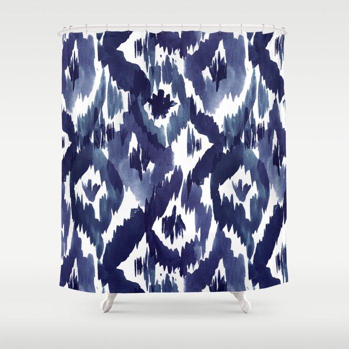 Indigo Blue Ikat Shower Curtain