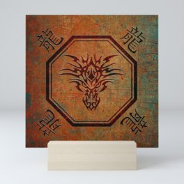 Tribal Dragon Head In Octagon With Dragon Chinese Characters Mini Art Print