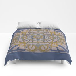 Gender Equality Mandala - Blue Ochre Comforters