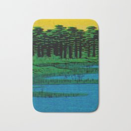 Hiroshige, Sunset Contemplative Landscape Bath Mat