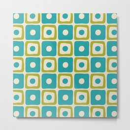 Mid Century Modern Square Dot Pattern 771 Turquoise and Chartreuse Metal Print