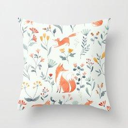 Fox & Kits Throw Pillow