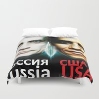 russia Duvet Covers featuring Russia  USA by Pavlo Tereshin
