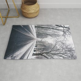 middle of the road with snow Rug