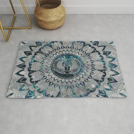 Egyptian Scarab Beetle Silver and Abalone Rug