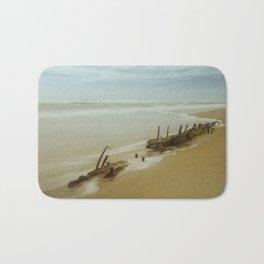 Coastal Landscape Photograph Misty Shipwreck on the Beach Bath Mat