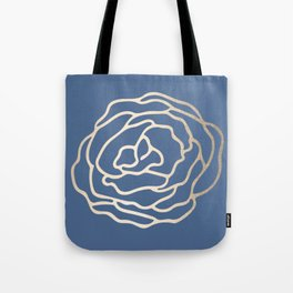 Flower in White Gold Sands on Aegean Blue Tote Bag