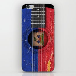 Old Vintage Acoustic Guitar with Haitian Flag iPhone Skin
