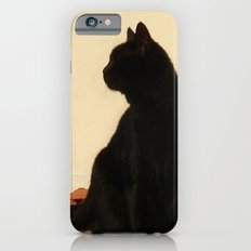 Side View Silhouette of A Black Cat Sitting On A Roof iPhone 6 Slim Case