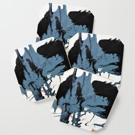 Black Diamond: A minimal, abstract mixed-media piece in black and blue by Alyssa Hamilton Art Coaster