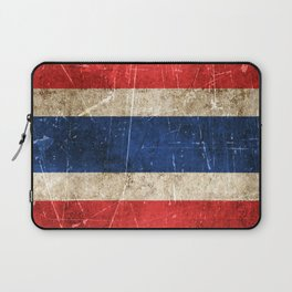Vintage Aged and Scratched Thai Flag Laptop Sleeve