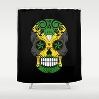 jamaica Shower Curtains featuring Sugar Skull with Roses and Flag of Jamaica by Jeff Bartels