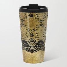 Black floral elegant lace on gold metal background- #Society6 Metal Travel Mug