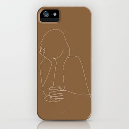 Line art abstract girl with coffee illustration iPhone Case