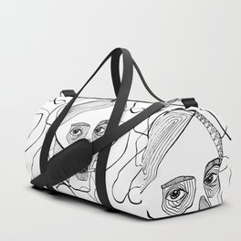 Sketch woman's head art. Duffle Bag