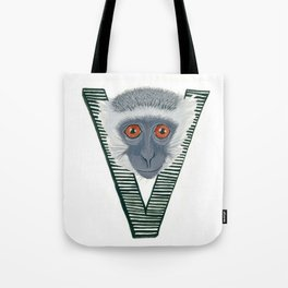 V is for Verve Monkey Letter Alphabet Decor Design Art Pattern Tote Bag
