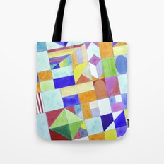 Playful Colorful Architectural Pattern Tote Bag