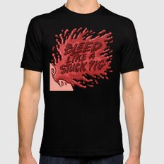 Bleed Like a Stuck Pig Black SMALL Mens Fitted Tee