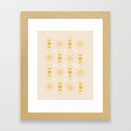 Yellow Sun & Moon Pattern Framed Art Print