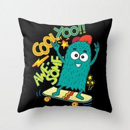 Cool Yoo Skating Skateboarding Skater Throw Pillow
