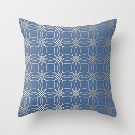 Simply Vintage Link in White Gold Sands and Aegean Blue Throw Pillow