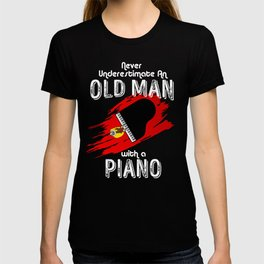 Grand Piano Old Man Keyboard Clavier Pianist Gift T-shirt