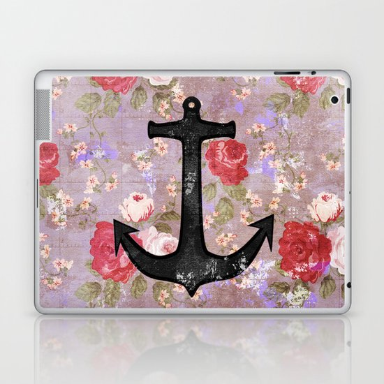 Vintage Nautical Anchor Purple Pink Floral Pattern  Laptop & iPad Skin