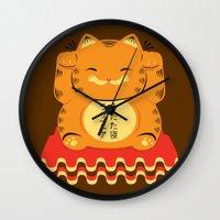 garfield Wall Clocks featuring Lucky Garfield by Ashley Hay