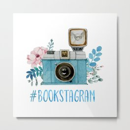 Blue Bookstagram Metal Print