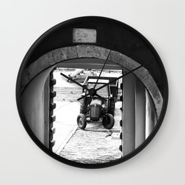Paved alley in Istria with a tractor in the background. Wall Clock