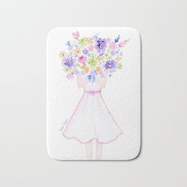GIRL HOLDING BOUQUET OF FLOWERS / THANK YOU / CONGRATULATIONS / BIRTHDAY Bath Mat