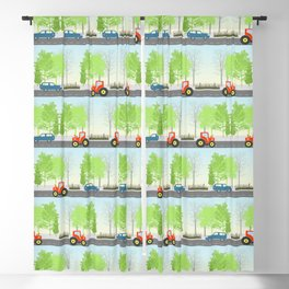 Cars and trees pattern Blackout Curtain