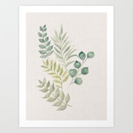 Modern boho botanical illustration of green leaves and plants on beige Art Print