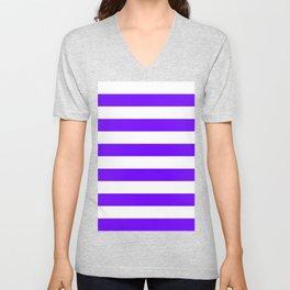 Horizontal Stripes - White and Indigo Violet Unisex V-Neck