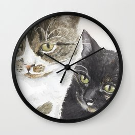 Two cats - tabby and tortie Wall Clock