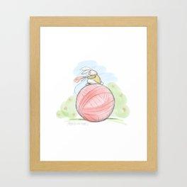 Bunny on a Ball Framed Art Print